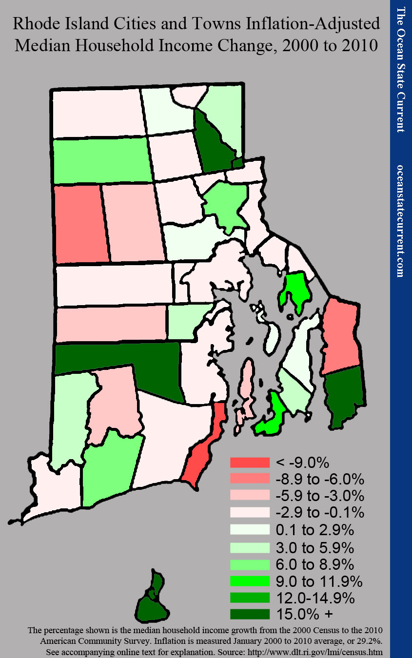 Rhode Island Cities and Towns Inflation-Adjusted Median Household Income Change, 2000 to 2010